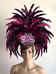 abordables -Carnaval Chapeau Coiffe de samba Jaune Rouge Vert Bleu Fuschia Plume Accessoires de cosplay Carnaval Mascarade