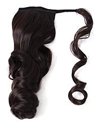 Недорогие -Накладки из натуральных волос Конские хвостики Волнистый Естественные кудри Искусственные волосы Наращивание волос На клипсе Повседневные