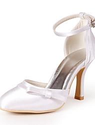 preiswerte -Damen Schuhe Seide Frühling Sommer Pumps Hochzeit Schuhe Stöckelabsatz Geschlossene Spitze Schleife für Hochzeit Party & Festivität Rot