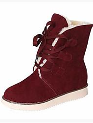 abordables -Mujer Zapatos PU Invierno Otoño Confort Botas Plano Punta cerrada Botines/Hasta el Tobillo para Casual Negro Beige Marrón Rojo