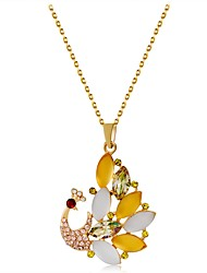 cheap -Women's Shape Animals Lovely Pendant Necklace Crystal Synthetic Opal Gold Plated Pendant Necklace Gift Daily Costume Jewelry