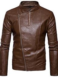 Недорогие -Муж. На выход Зима Осень Обычная Куртка Круглый вырез, На каждый день Однотонный Полиуретановая Хлопок Пэчворк