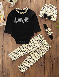 cheap -Baby Girls' Daily Going out Animal Print Clothing Set, Cotton Polyester Spring Fall Simple Casual Long Sleeves Black