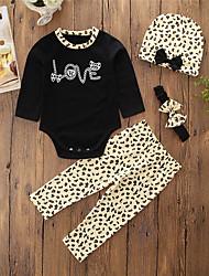 abordables -bébé Ensemble de Vêtements Fille Quotidien Sortie Motif Animal Coton Polyester Printemps Automne Manches longues simple Décontracté Noir