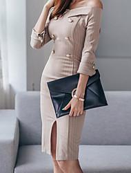 abordables -Femme Quotidien Rétro Midi Robe Moulante Couleur Pleine Col Arrondi Manches 3/4 Coton Printemps