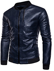 cheap -Men's Leather Jacket - Solid, Oversized Stand