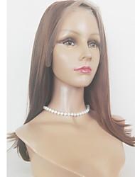 Недорогие -Натуральные волосы Лента спереди Парик Бразильские волосы Прямой 130% плотность Жен. Парики из натуральных волос на кружевной основе