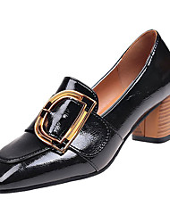 Недорогие -Обувь Полиуретан Весна Удобная обувь Мокасины и Свитер На толстом каблуке Квадратный носок Черный / Бежевый