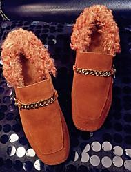 preiswerte -Damen Schuhe Echtes Leder Pelz Frühling Herbst Komfort Loafers & Slip-Ons Blockabsatz für Normal Schwarz Dunkelbraun