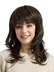 economico -Parrucche sintetiche Onda naturale Con frangia Densità Senza tappo Per donna Marrone Parrucca naturale Medio Capelli sintetici