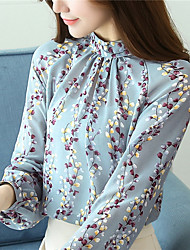 cheap -Women's Daily Casual Winter Fall Blouse,Floral Crew Neck Long Sleeve Polyester Opaque
