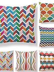 economico -6 pezzi Tessuto Cotone/Lino Copricuscino, A strisce Fantasia geometrica Artistico