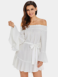 cheap -Women's Loose Dress - Solid High Rise Boat Neck