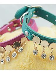 preiswerte -Katze Hund Halsbänder Tragbar Klappbar Dekoration Einstellbare Flexible Solide PU - Leder/Polyurethan Leder