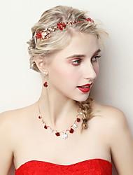 preiswerte -Damen Strass Blumig Schmuck-Set 1 Halskette / Ohrringe - Blumig Rot Schmuckset Für Hochzeit / Party