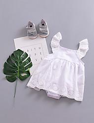 abordables -bébé Fille simple / Rétro Sports Couleur Pleine Sans Manches Coton / Lin / Fibre de bambou Le maillot de corps / Bébé