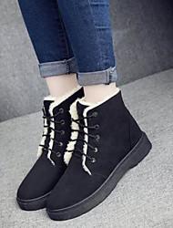 Недорогие -Для женщин Обувь Полиуретан Зима Осень Удобная обувь Ботинки На толстом каблуке Круглый носок Закрытый мыс Ботинки для Повседневные Белый