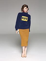 baratos -Mulheres Suéter Sólido Saia