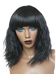 Недорогие -Парики из искусственных волос Kinky Curly Афро Стрижка каскад С чёлкой Природные волосы плотность Без шапочки-основы Черный Знаменитый