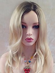 abordables -Pelucas sintéticas Ondulado Rubio Con flequillo Pelo sintético Parte lateral Rubio Peluca Mujer 17 a 20 pulg Sin Tapa