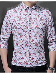 cheap -Men's Shirt - Floral Print Spread Collar / Long Sleeve