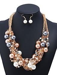 abordables -Mujer Pendientes colgantes Collares con colgantes Perla artificial Diamante sintético Dulce Moda Elegant Boda Fiesta Perla Artificial