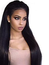 cheap -Remy Human Hair Lace Front Wig Brazilian Hair Straight With Baby Hair 150% Density 100% Virgin Natural Hairline Short Medium Long Human