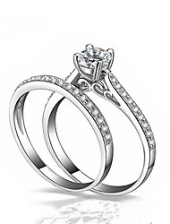 cheap -Couple's Cubic Zirconia Couple Rings - 2pcs Circle Fashion White Ring For Gift / Valentine