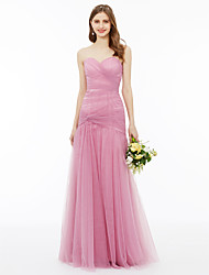 cheap -A-Line Sweetheart Floor Length Chiffon Bridesmaid Dress with Criss Cross Side Draping by LAN TING BRIDE®