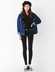 cheap -Women's Cotton Denim Jacket - Solid Colored, Pleated