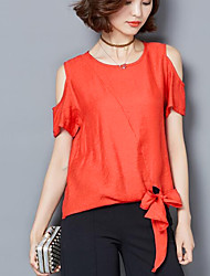 cheap -Women's Daily Casual Blouse,Solid Round Neck Short Sleeves Others