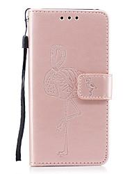abordables -Funda Para Samsung Galaxy A8 2018 A5(2017) Soporte de Coche Cartera con Soporte Diseños En Relieve Color sólido Flamenco Dura para