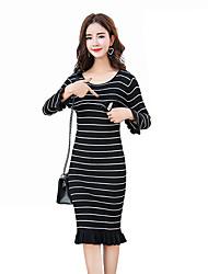 baratos -Mulheres Algodão Tubinho Bainha Vestido Listrado Médio