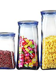 baratos -Vidro Gadget de Cozinha Criativa Armazenamento de alimentos 3pçs Organização de cozinha