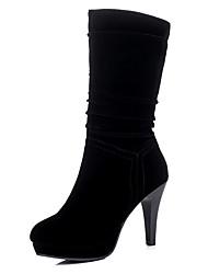 Недорогие -Жен. Обувь Флис Зима Осень Модная обувь Ботильоны Ботинки На шпильке Круглый носок Ботинки Сапоги до середины икры для Для праздника Для