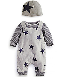 cheap -Baby Boys' Daily Going out Print Clothing Set, Cotton All Seasons Simple Casual Long Sleeves Gray