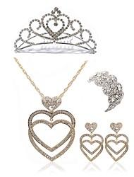 preiswerte -Damen Schmuck-Set - Diamantimitate Herz Europäisch, Modisch Einschließen Tiara / Braut-Schmuck-Sets Gold Für Hochzeit / Party