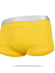 cheap -Men's Micro-elastic Solid Boxers Underwear Opaque,Cotton One-piece Suit Fuchsia Light Green Yellow Dark Gray Orange