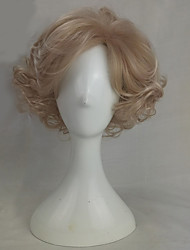 cheap -Synthetic Wig Wavy Synthetic Hair Blonde Wig Medium Length Capless