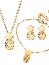 cheap -Women's Pineapple Jewelry Set 1 Necklace / 1 Bracelet / Earrings - Elegant / Sweet / Korean Gold / Silver Jewelry Set / Pendant Necklace