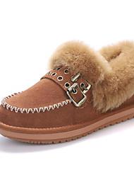 preiswerte -Damen Schuhe Echtes Leder Pelz Winter Herbst Komfort Schneestiefel Stiefel Flacher Absatz Booties / Stiefeletten für Normal Schwarz Kamel