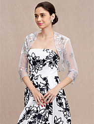 cheap -3/4 Length Sleeves Tulle Wedding Party / Evening Women's Wrap With Sequin Shrugs