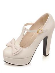 preiswerte -Damen Schuhe PU Sommer Komfort High Heels Blockabsatz Geschlossene Spitze Weiß / Schwarz / Rosa