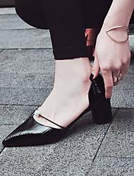 preiswerte -Damen Schuhe PU Herbst Winter Komfort High Heels Blockabsatz Geschlossene Spitze für Draussen Schwarz Silber Mandelfarben