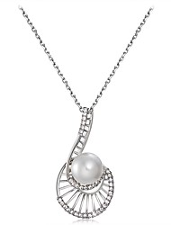 cheap -Women's Cubic Zirconia Pendant Necklace - Imitation Pearl, Silver Plated, Imitation Diamond Shell Classic Silver Necklace For Party, Formal