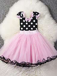 cheap -Girl's Daily Holiday Polka Dot Dress,Cotton Summer Short Sleeves Cute Casual Fuchsia Blushing Pink