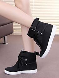 Недорогие -Жен. Обувь Ткань Лето Удобная обувь Кеды На плоской подошве Закрытый мыс для Повседневные на открытом воздухе Черный Серый
