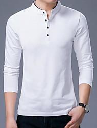abordables -Hombre Algodón Camiseta, Escote Chino Un Color / Manga Larga