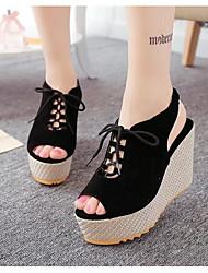 preiswerte -Damen Schuhe Nubukleder Frühling Sommer Komfort Sandalen Keilabsatz für Schwarz Beige Purpur
