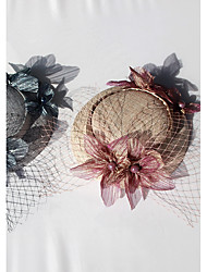 cheap -Cotton Hats with Faux Pearl Satin Flower 1pc Wedding Special Occasion Headpiece